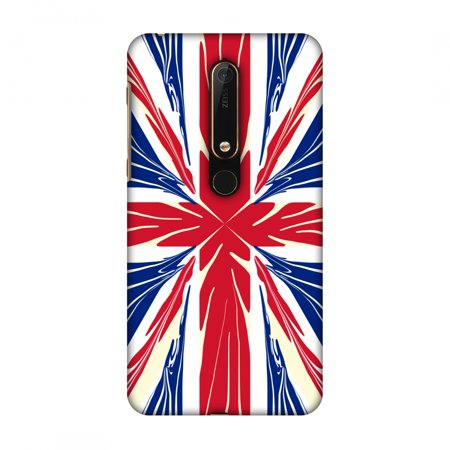 Nokia 6.1 Case, Ultra Slim Designer Snap On Hard Shell Case Back Cover with Screen Cleaning Kit for Nokia 6.1 2018 - UK Flag- Cutouts