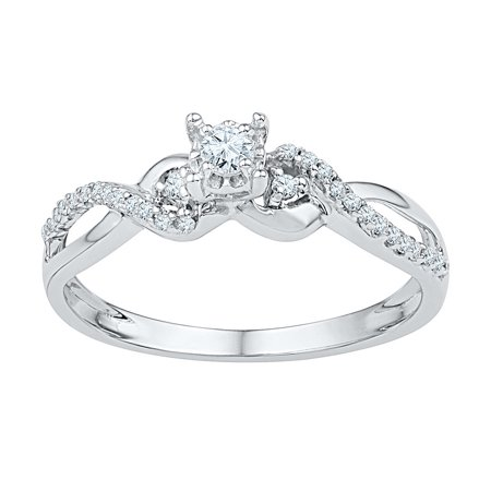 White Gold Crossover Ring - 10kt White Gold Womens Round Diamond Solitaire Crossover Promise Bridal Ring 1/4 Cttw