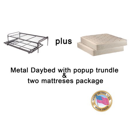 Dream Solutions Metal Day Bed Daybed Frame And Pop Up Trundle With