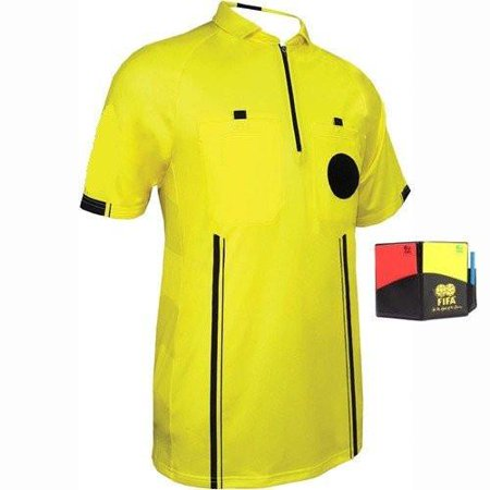 1 Stop Soccer New Men's Soccer Pro Referee Jersey Yellow Free (Long Sleeve Soccer Referee Jersey)