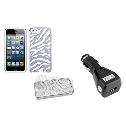 Insten Silver Plating Zebra/Solid White Case For iPhone 5 + USB Car Charger