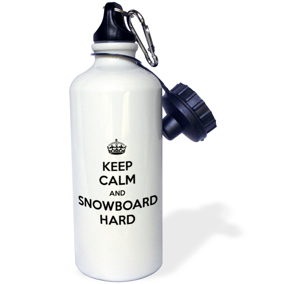 3dRose Keep calm and snowboard hard. White and Black., Sports Water Bottle, 21oz by 3dRose