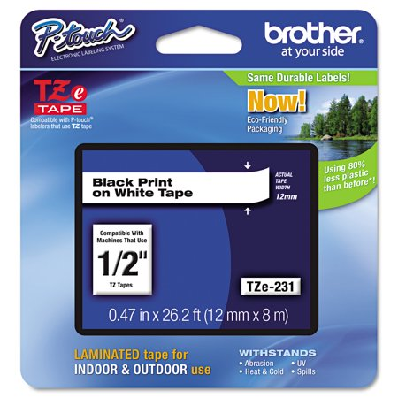 Brother 26.2-Foot Black on White 1/2-Inch Labeling Tape (TZe231) Brother P-touch Tc20z1 Laminated Tape