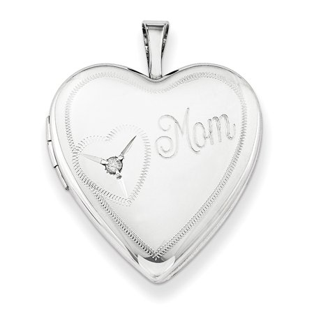 Sterling Silver Rhodium-plated 20mm Mom with Diamond Heart Locket QLS250-18 (25mm x 20mm) - image 3 de 3