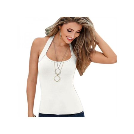 Maraso Women Summer Solid Color Sleeveless Vest Halter Blouse Tank Top