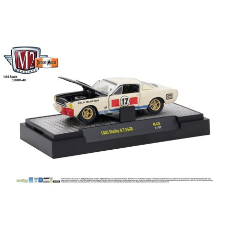 - M2 Machines 1:64 Detroit Muscle Release 40 1965 Shelby GT 350R White Black Hood