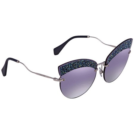 Miu Miu Grey Gradient Blue/ Silver Mirror Cat Eye Ladies Sunglasses MU 58TS D47148 (Gradient Silver Sunglasses)