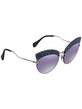 a76bfe4c211e Product Image Miu Miu Grey Gradient Blue  Silver Mirror Cat Eye Ladies  Sunglasses MU 58TS D47148 65