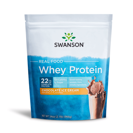 Swanson Real Food Chocolate Ice Cream Flavor Whey Protein Powder, 34 (Best Arctic Zero Ice Cream Flavors)