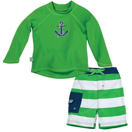 198b4659d5 Sun Smarties - Sun Smarties Baby Boy Swim Diaper and Rashguard - Green and  White Striped - Boardshorts and Long Sleeve Swim Shirt - Walmart.com