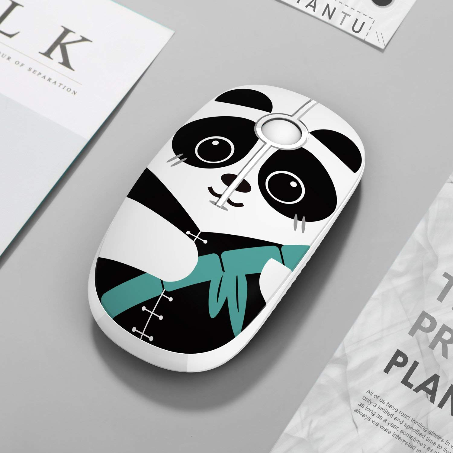 2.4G Cute Panda pattern Slim Wireless mouse with Nano Receiver,Less Noise,Portable Mobile Optical Mice for Notebook, PC, Laptop, Computer, MS001(Panda)