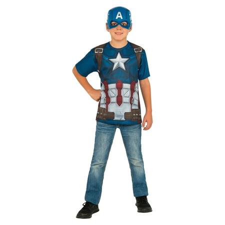 Rubie's Costume Captain America Civil War Child Top and Mask Medium (Captain America Costume Shirt)