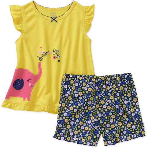 Child of Mine by Carters Baby Girls' 2 Piece Elephant Ruffle Short Sleeve Pajama Set