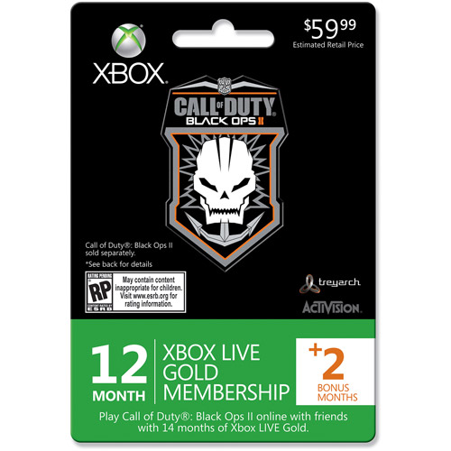 Xbox Live Call Of Duty Black Ops Ii 12 Month 2 Month