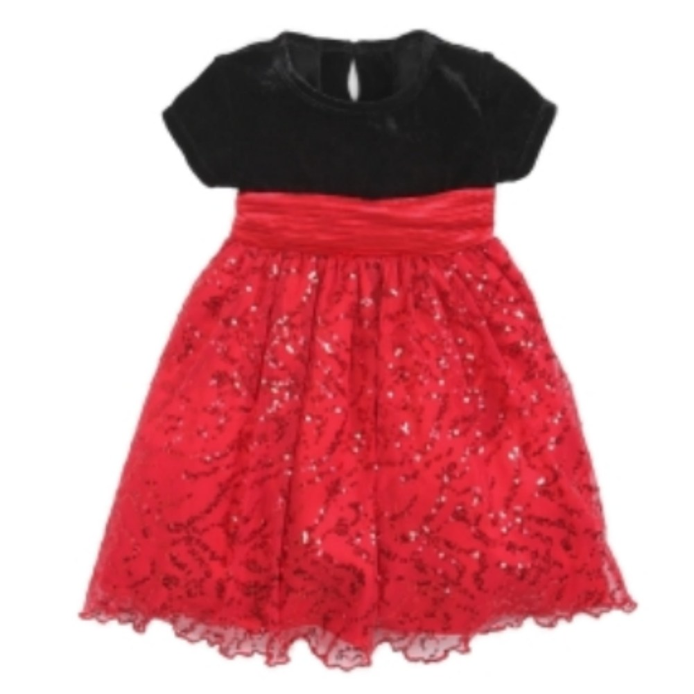 Blueberi Infant Toddler Girl Sparkly Red Sequin Party Dress Holiday