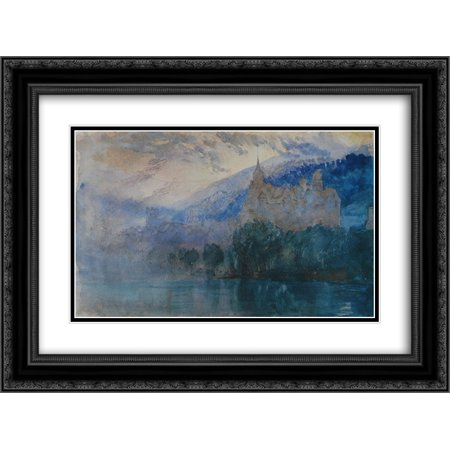Mountain Chateau (John Ruskin 2x Matted 24x18 Black Ornate Framed Art Print 'The Chateau of Neuchatel at dusk, with Jura mountains beyond ' )