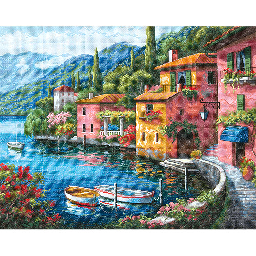 """Dimensions Gold Collection Lakeside Village Counted Cross Stitch Kit, 15"""" x 12"""" 16-Count"""