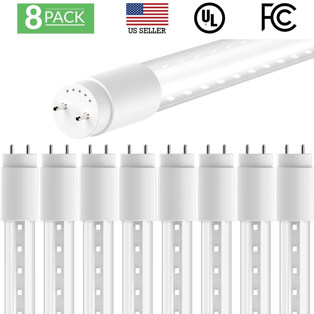 Sunco Lighting 8 Pack 4FT 48 Inch T8 Tube LED Light Bulbs 18 Watt (40 Equivalent) Clear 5000K Kelvin Daylight 2200LM, Bright White Light, Single Sided Connection Bypass Ballast - ETL & DLC LISTED