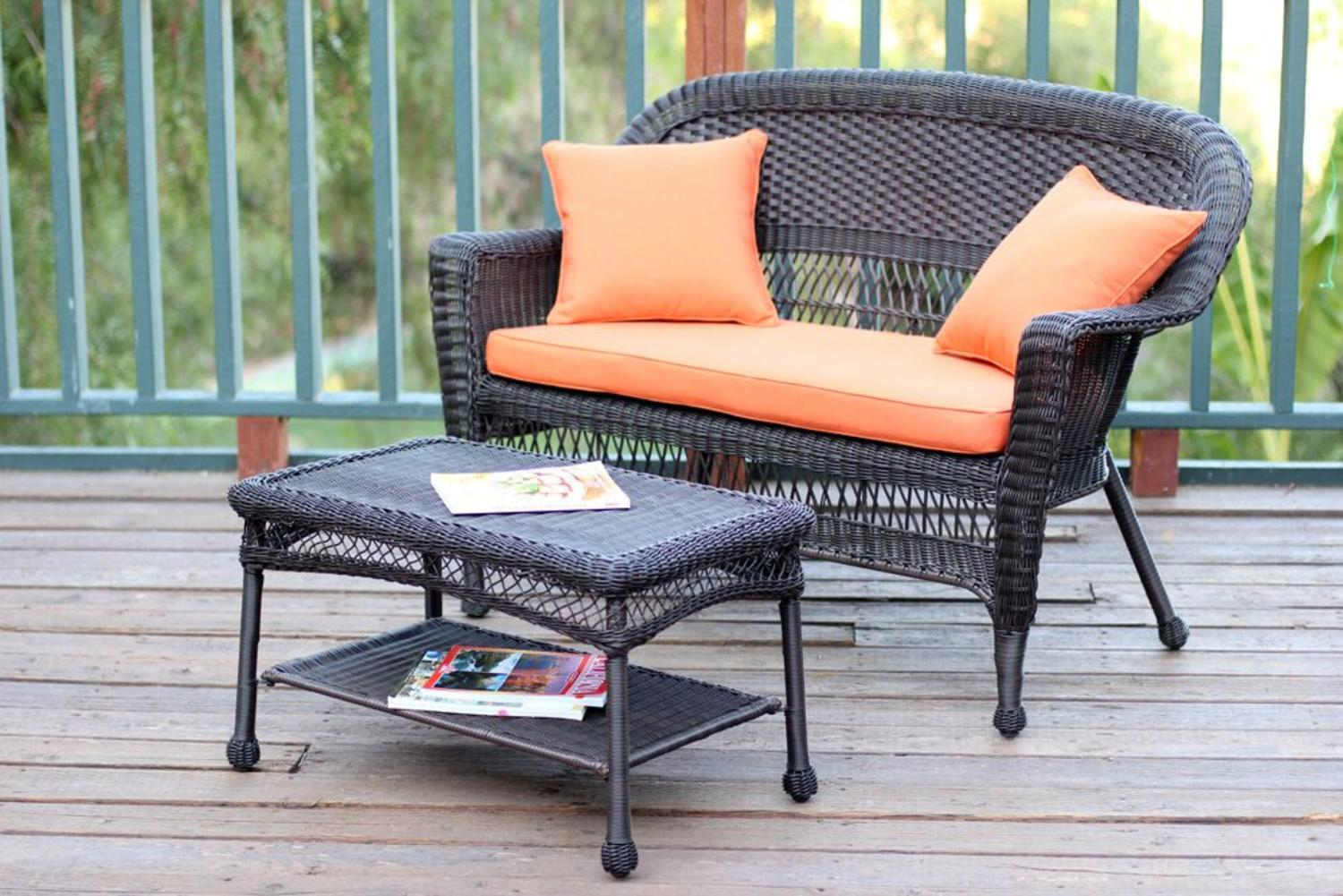 2-Piece Espresso Resin Wicker Patio Loveseat and Coffee Table Set Orange Cushion by CC Outdoor Living