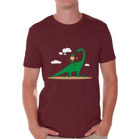 Awkward Styles Leprechaun and Dinosaur Tshirt St. Patrick's Day Shirt for Men Irish Gifts for Him Saint Patrick T Shirt St. Patrick Shirt Irish Men's T Shirt Dinosaur Shirt Lucky Irish Shirt for Men - Leprechaun St Patrick's Day