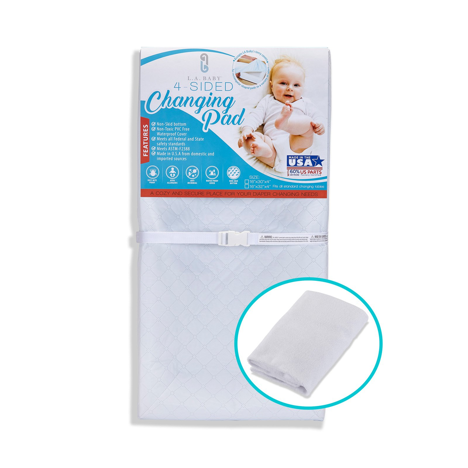 """L. A. Baby Combo Pack with 30"""" 4-Sided Waterproof Changing Pad and White Terry Cover"""