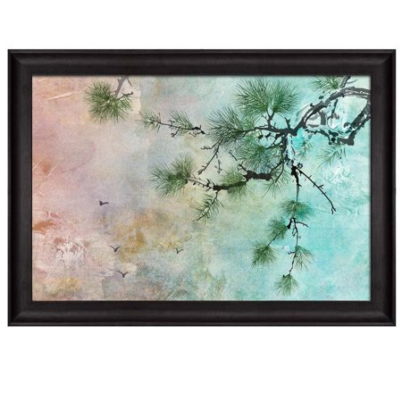 wall26 - Beautiful Watercolor Illustration of a Pine Tree and Birds in The Sky Placed in an Elegant Wooden Black Frame - Framed Art Prints, Home Decor - 16x24 inches