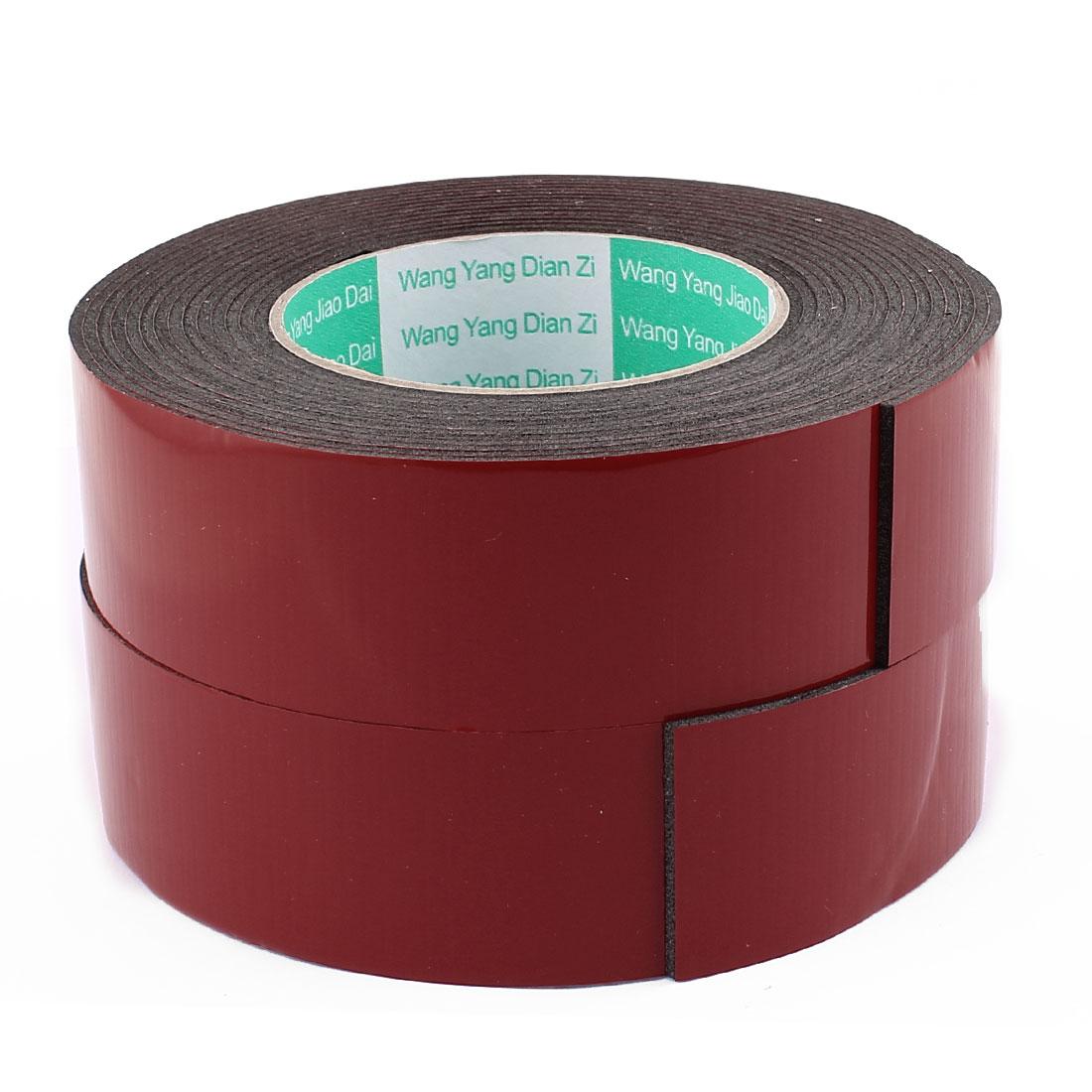 Unique Bargains 2 Pcs Black Strong Double Sided Adhesive Tape Sponge Tape 40MM Width 5M Long
