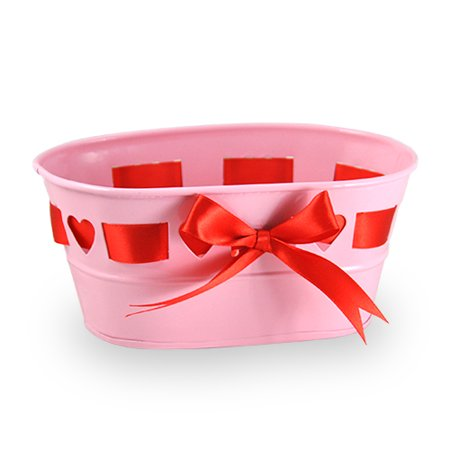 Oblong Valentine Heart with Ribbon Container - Pink - 7 in (Heart With Ribbon)