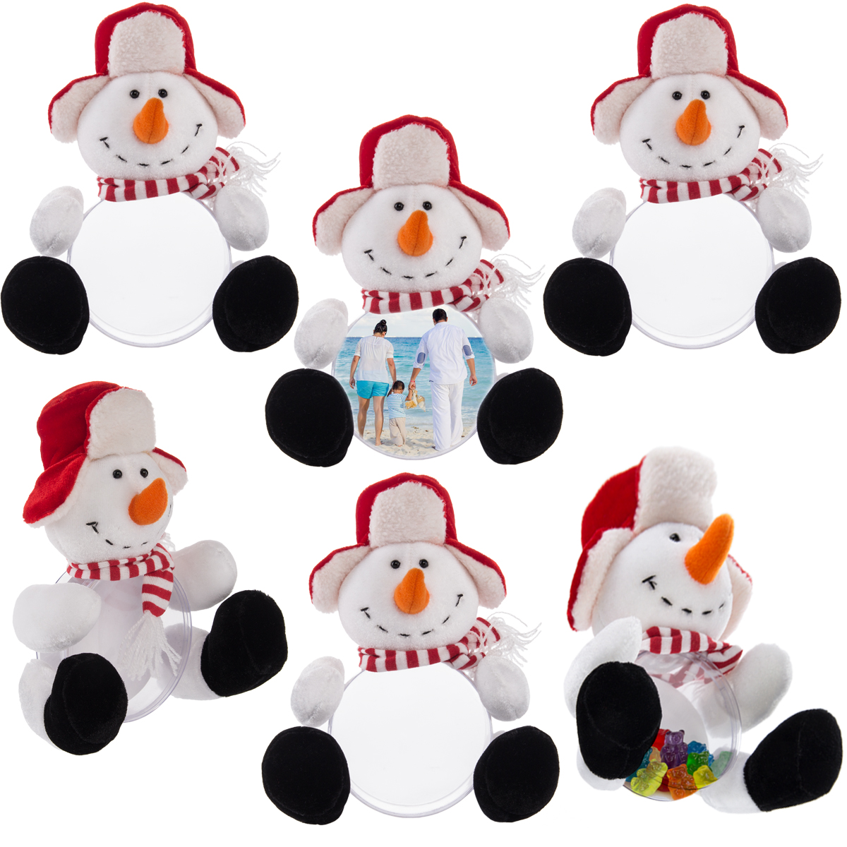 6 Snowman Plush Picture Frame Christmas Trinket Box Holiday Gift Set Kids Adults