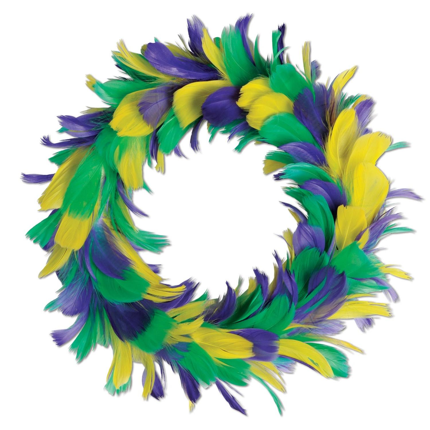 """Pack of 6 Yellow Purple and Green Mardi Gras Party Decorative Feather Wreath 12"""""""