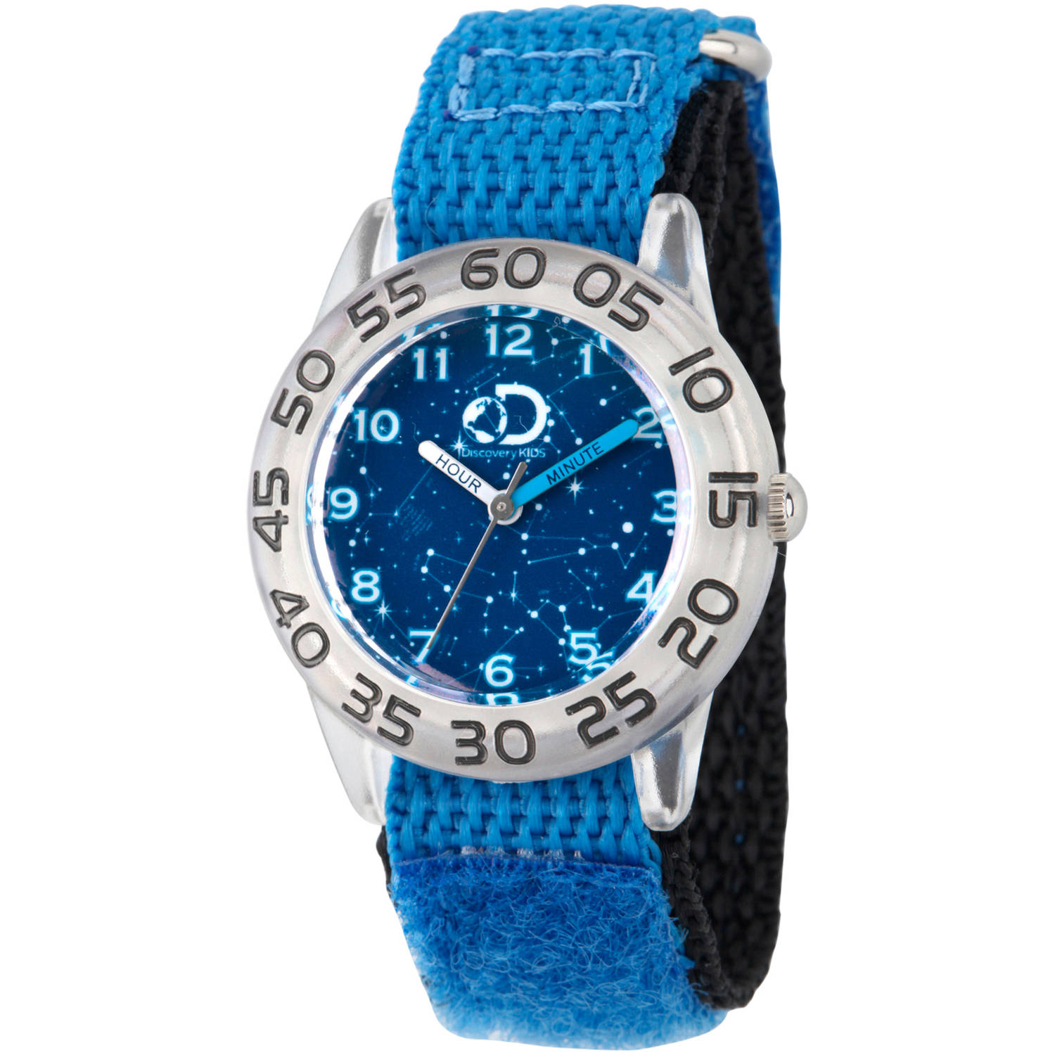 Discovery Channel, Discovery Kids, Galaxy Boys' Clear Plastic Time Teacher Watch, Blue Hook and Loop Nylon Strap with Black Backing