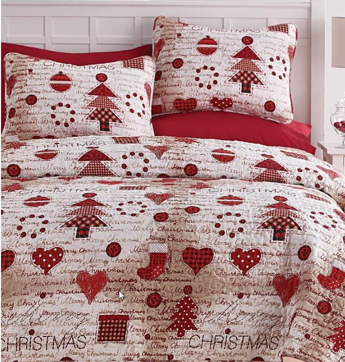 Festive Holidays Vintage Christmas Red & White Full/Queen Quilt Set (3 Piece Set)
