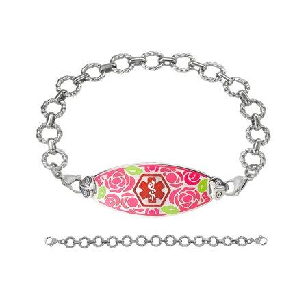 - Divoti Deep Custom Laser Engraved Gorgeous Red Rose Medical Alert Bracelet -Fancy Link Stainless