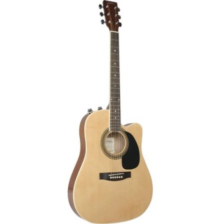 Johnson JG-650-TN Thinbody Acoustic Guitar with Pickup, Natural Multi-Colored (Pickups Acoustic Guitar)