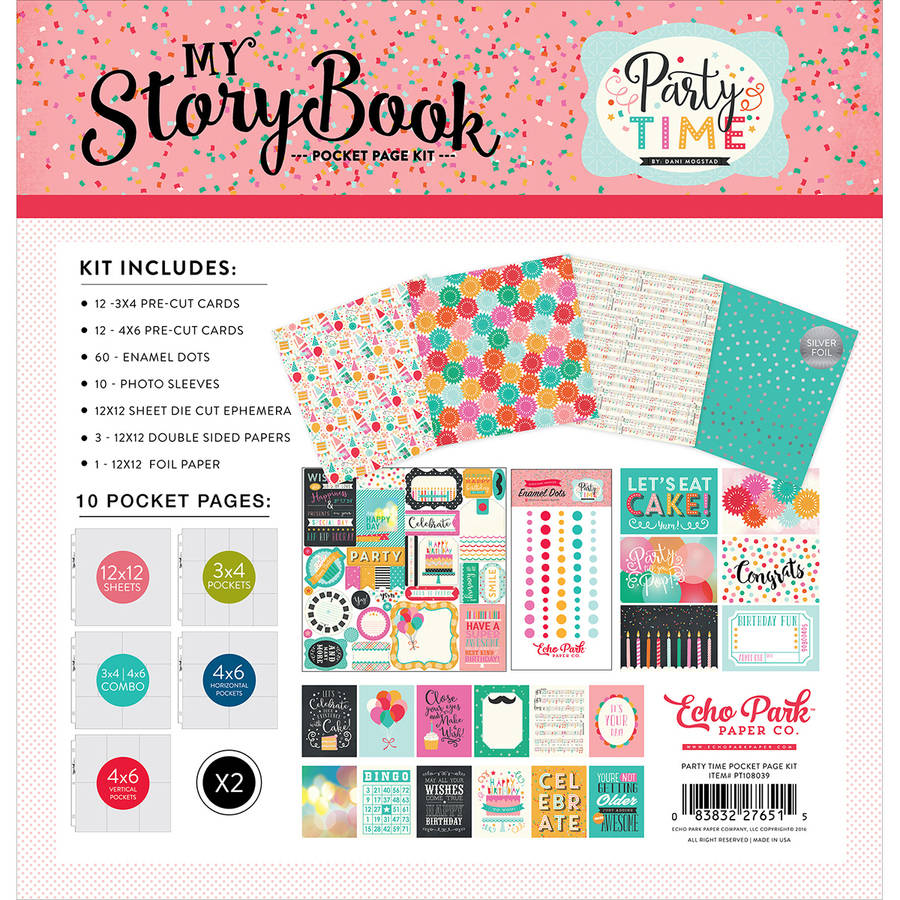"My Story Book Pocket Page Kit, 12"" x 12"", Party Time"