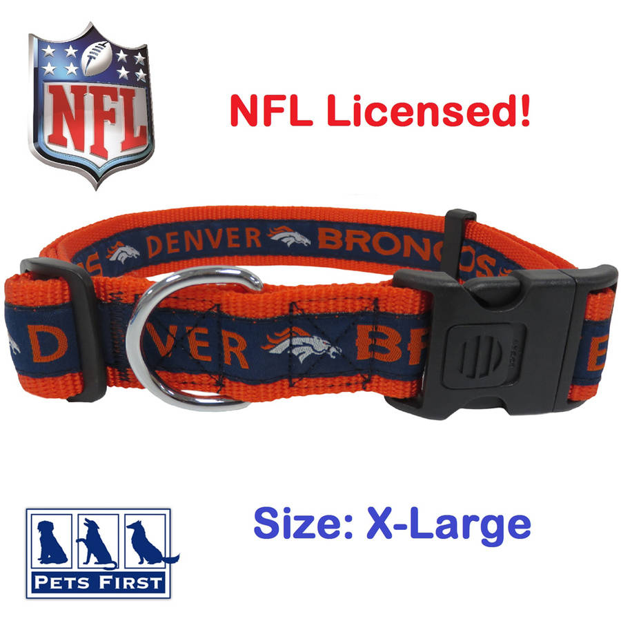 NFL Denver Broncos Strong, Durable, Heavy-Duty Dog Collar, Officially Licensed