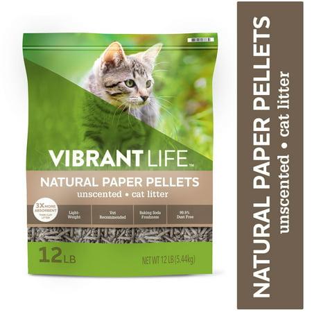 Vibrant Life Natural Paper Pellets Cat Litter, Unscented, 12 lb (Lite Cat Litter)