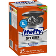 Hefty® Steel™ Size L 12 Gallon Fresh Scent Drawstring Custom Fit Trash Bags 35 ct Box