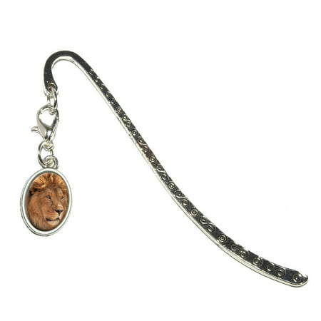 Male Lion - African Plains Oval Charm Metal Bookmark