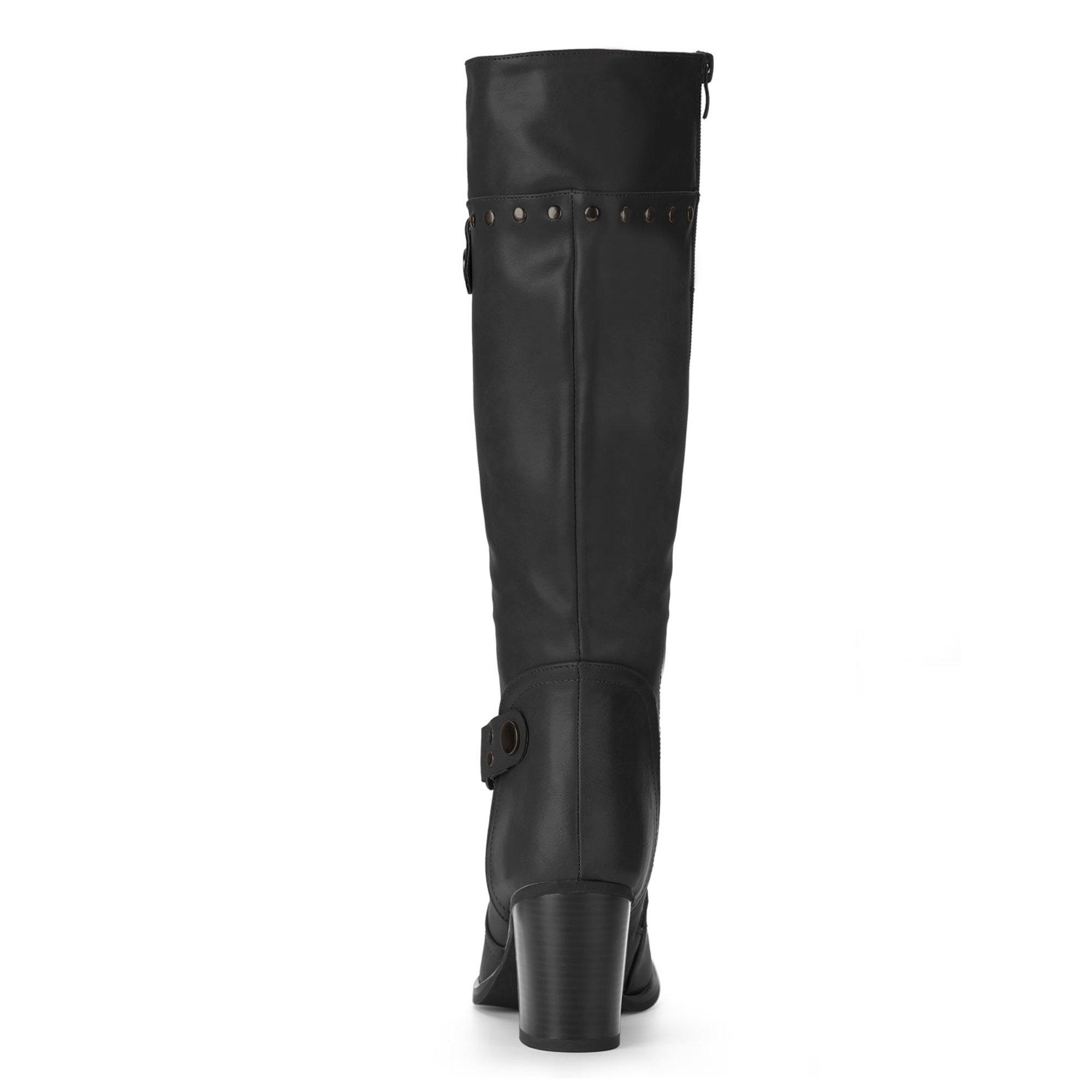 7e193e5d5d53 Unique Bargains Women s Strap Studded Decor Block Heel Riding Boots Black  (Size 6.5)