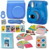 Fujifilm Instax Mini 9 Instant Fuji Camera (COBALT BLUE) + Accessories Bundle + Custom Matching Case w/Neck Strap + Photo Album + Assorted Frames + 4 Color Filters + 60 Sticker Frames + MORE This kit includes 9 items, Camera includes manufacturer's supplied accessoriesFujifilm instax mini 9 Instant Film Camera (Cobalt Blue), Features: Fujinon 60mm f/12.7 Lens, Optical Viewfinder, Built-In Flash and Auto Exposure Mode, Brightness Adjustment Dial, High-key mode, Macro Attachment LensStylish Custom Fitted Case with detachable Strap (designed to fit the Mini 9 Camera) - 64 Pocket Photo Album designed for holding Instax Mini Photos60 Assorted Colorful Mini Film Sticker Borders (for decorating your photos, easy to apply and are fun to have) - 5 Colorful Hard Frames (designed for Mini Instant Photos) - Colorful Paper Hanging Frames with Colorful Hanging Clips and Rope