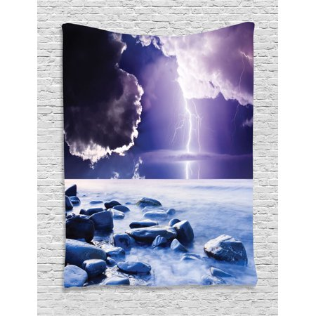 Lake House Decor Wall Hanging Tapestry Dark Ominous Rain Clouds With Mystic Sky Scenery Electrical Lightning Photo Bedroom Living Room Dorm
