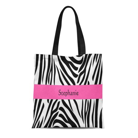 ASHLEIGH Canvas Tote Bag Black and White Zebra Hot Pink Stripe Pattern Reusable Handbag Shoulder Grocery Shopping Bags - Black And White Striped Bag