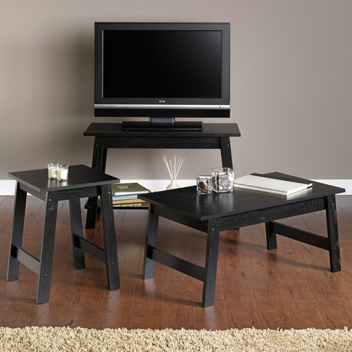 Sauder Beginnings 3 Piece Living Room Set, Black. Walmart #: 6FZMM0511MY0.  Bundle Image