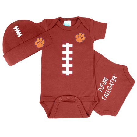 Clemson Tiger Baby Football Onesie and Cap Set (Tiger Outfits)