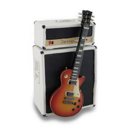 stylized vintage electric guitar and amp coin bank piggy bank w stand. Black Bedroom Furniture Sets. Home Design Ideas