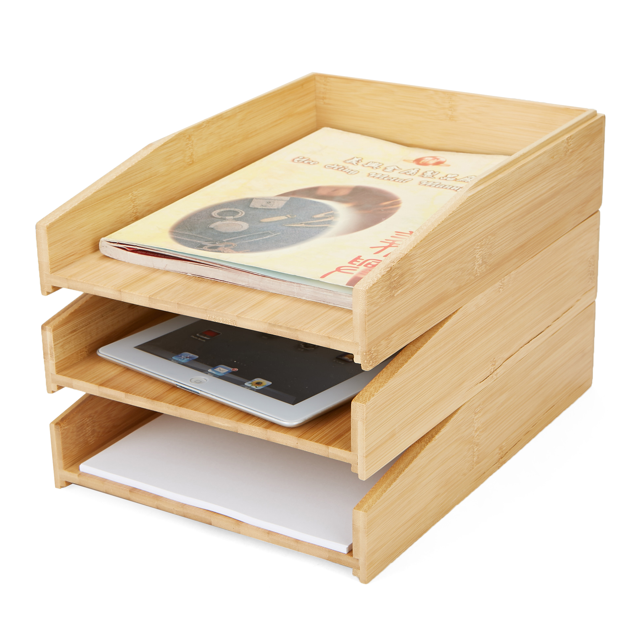 Mind Reader 3 Tier File Tray Organizer, Stackable Paper Tray, Document Letter Tray, Bamboo Environment Friendly File, Brown