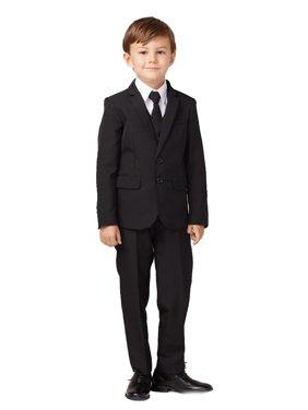Tip Top Kids Boys Black Slim Fit Jacket Vest Pants Suit