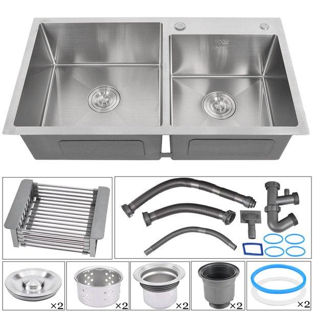 32x 17 7 X 8 7in Stainless Steel Double Bowl Kitchen Sink Walmart Com Walmart Com