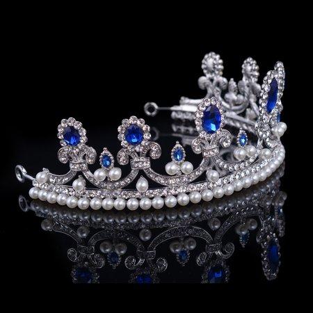 Meigar Blue Crystal Rhinestone Bridal Tiara Princess Pearls Crown Wedding Prom Headband - image 2 de 6